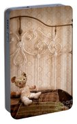 Worn Teddy Bear On Brass Bed Portable Battery Charger
