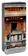 Worshipers In Urn Courtyard Of Chinese Temple Shanghai China Portable Battery Charger