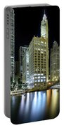 Wrigley Building At Night  Portable Battery Charger
