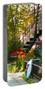 Wrought Iron Fence Balcony And Staircases Verdun Stairs Summer Scenes Carole Spandau  Portable Battery Charger