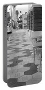 Ybor City Sidewalk - Black And White Portable Battery Charger