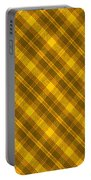 Yellow And Brown Diagonal Plaid Pattern Cloth Background Portable Battery Charger