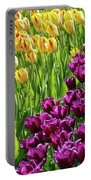 Yellow And Purple Tulips Portable Battery Charger by Allen Beatty