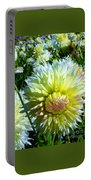 Yellow And White Dahlia Flowers Portable Battery Charger
