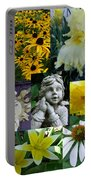 Yellow And White Flower Collage Portable Battery Charger