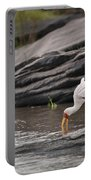 Yellow-billed Stork Fishing In River Portable Battery Charger