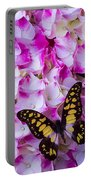 Yellow Black Butterfly On Hydrangea Portable Battery Charger