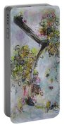 Yellow Blossoms Painting Flowr Butterflies Art Abstract Modern Spring Color Flower Art Portable Battery Charger