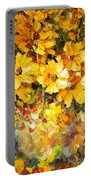 Yellow Bouquet - Palette Knife Oil Painting On Canvas By Leonid Afremov Portable Battery Charger