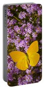 Yellow Butterfly On Pink Flowers Portable Battery Charger