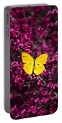 Yellow Butterfly On Red Flowering Bush Portable Battery Charger