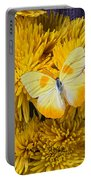 Yellow Butterfly On Yellow Mums Portable Battery Charger