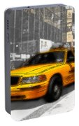 Yellow Cab At The Times Square -comic Portable Battery Charger