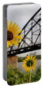 Yellow Cone Flowers And Bridge Portable Battery Charger