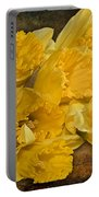 Yellow Daffodils And Texture Portable Battery Charger