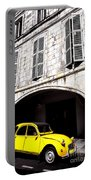 Yellow Deux Chevaux In Shadow Portable Battery Charger