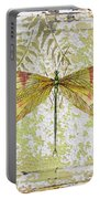 Yellow Dragonfly On Vintage Tin Portable Battery Charger