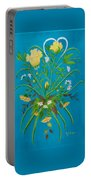 Yellow Floral Enchantment In Turquoise Portable Battery Charger