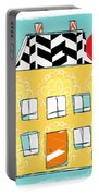 Yellow Flower House Portable Battery Charger by Linda Woods