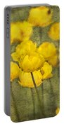 Yellow Flowers With Texture Portable Battery Charger