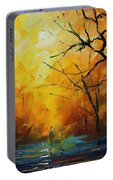 Yellow Fog 2 - Palette Knife Oil Painting On Canvas By Leonid Afremov Portable Battery Charger