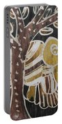 Yellow Head Brown Owl Bird On The Tree Portable Battery Charger
