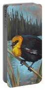 Yellow Headed Black Bird Portable Battery Charger
