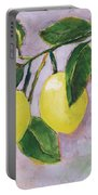 Yellow Lemons On Purple Orchid Portable Battery Charger by Jen Norton