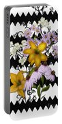 Yellow Lilies On Black And White Zigzag Portable Battery Charger