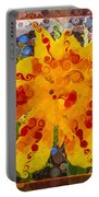 Yellow Lily With Streaks Of Red Abstract Painting Flower Art Portable Battery Charger