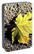 Yellow Maple Leaf On Asphalt Portable Battery Charger