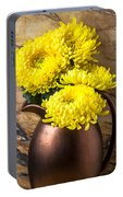Yellow Mums In Copper Vase Portable Battery Charger