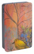Yellow Peace Bird On Orange Portable Battery Charger