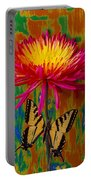 Yellow Red Mum With Yellow Black Butterfly Portable Battery Charger