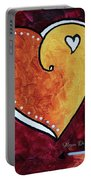 Yellow Red Orange Heart Love Painting Pop Art Love By Megan Duncanson Portable Battery Charger by Megan Duncanson
