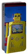 Yellow Robot In Front Of Drawers Portable Battery Charger