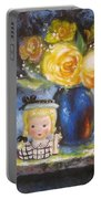 Yellow Roses And Headvase Girl Portable Battery Charger
