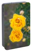 Yellow Roses On A Bush Portable Battery Charger
