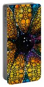 Yellow Sunflower - Stone Rock'd Art By Sharon Cummings Portable Battery Charger