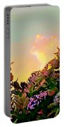 Yellow Sunrise With Flowers - Square Portable Battery Charger