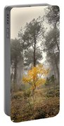 Yellow Tree In The Foggy Forest Portable Battery Charger