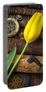 Yellow Tulip On Old Books Portable Battery Charger