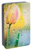 Yellow Tulip Reflecting In Water Drops Portable Battery Charger