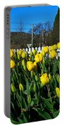Yellow Tulips Before White Picket Fence Portable Battery Charger
