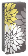 Yellow White Grey Peony Flowers Portable Battery Charger