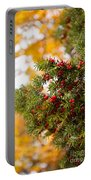 Taxus Baccata Or Yew Red Fruits On Twig  Portable Battery Charger