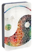 Yin And Yang - Colorful Peace - By Sharon Cummings Portable Battery Charger
