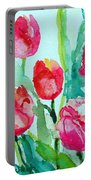 You Enlighten Me- Painting Of Tulips Portable Battery Charger
