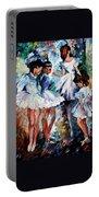 Young Ballerinas - Palette Knife Oil Painting On Canvas By Leonid Afremov Portable Battery Charger