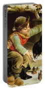 Young Boy With Birds In The Snow Portable Battery Charger